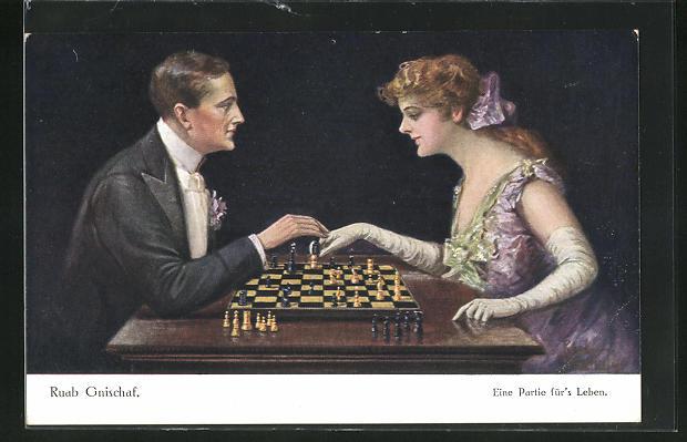 Künstler-AK Ruab Gnischaf: Eine Partie für`s Leben, Paar beim Schach