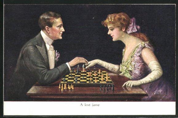 Künstler-AK Ruab Gnischaf: A lost game, Paar beim Schach