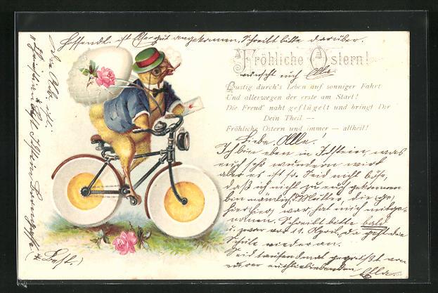 Lithographie Osterküken fährt auf seinem Fahrrad