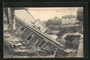 AK Erie, PA, Flat undermined by Flood, Zerstörungen durch Hochwasser
