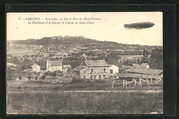 AK Garches, Zeppelin über dem Ort