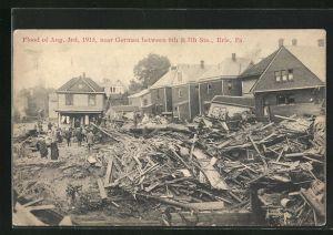 AK Erie, PA, Flood of August 1915, near German Street, Zerstörungen durch Hochwasser