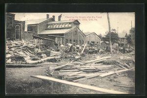AK Erie, PA, Cleaning the Streets after the Flood of 1915, Zerstörungen durch Hochwasser