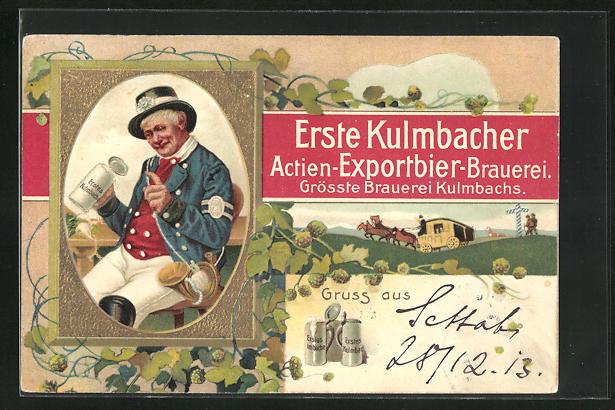 Präge-AK Brauerei-Werbung für Erste Kulmbacher Actien-Exportbier-Brauerei