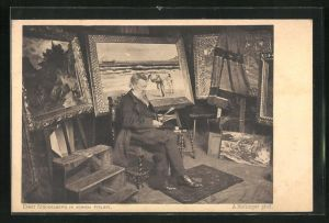 AK Maler Ernst Stückelberg in seinem Atelier