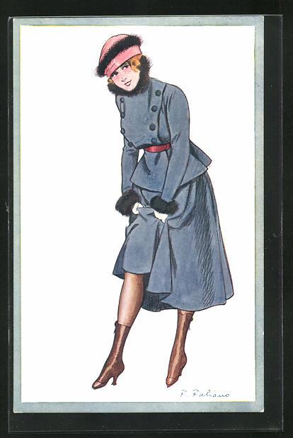 Künstler-AK Fabien Fabiano: Elegante Dame im Mantel zeigt Bein