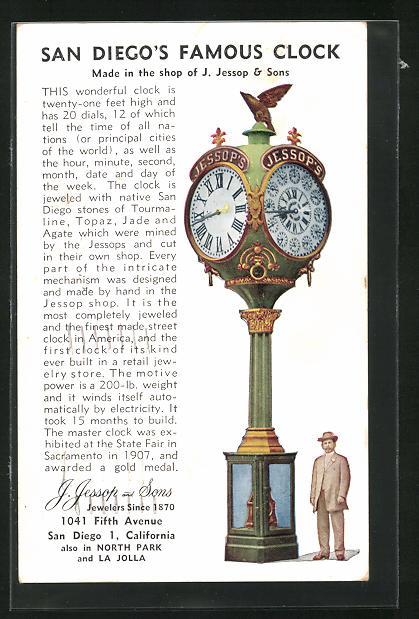 AK San Diego, CA, Berühmte Uhr, hergestellt von J. Jessop & Sons, 1041 Fifth Avenue