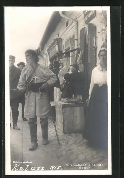 AK Kalusz, Strassenleben in der Stadt, russischer Bettler