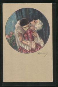 Künstler-AK A. Zandrino: Harlekin küsst eine Dame auf den Hals