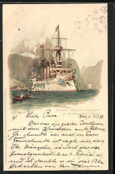 Künstler-AK Hans Bohrdt: Kreuzer Kaiserin Augusta in einem norwegischen Fjord