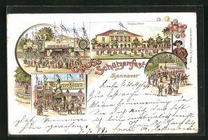 Lithographie Hannover, Schützenfest, Seufzer-Allee, Schützenhaus