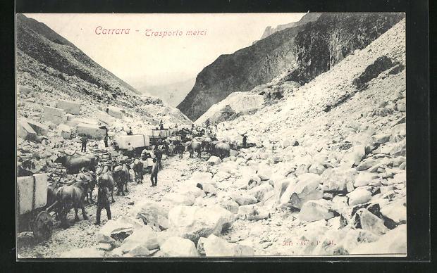 AK Carrara, Trasporto merci, Marmor-Steinbruch