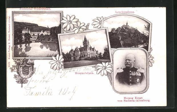 AK Hummelshain, Herzog Ernst von Sachsen-Altenburg, Leuchtenburg und Fröhl. Wiederkunft