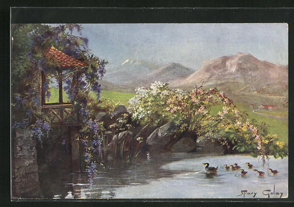 Künstler-AK Mary Golay: Idyll mit Wasservögeln