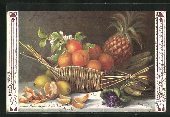 Künstler-AK Mary Golay: Stilleben mit Ananas und Orangen