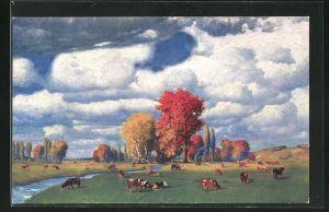 Künstler-AK Eduard Rüdisühli: Herbstweide