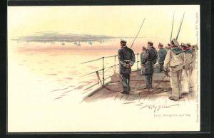 Künstler-Lithographie Willy Stoewer: Fata Morgana auf See, Kriegsschiff
