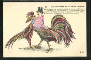 Künstler-AK Xavier Sager: L`Indiscrétion de la Poule Faisane, Vogelpaar