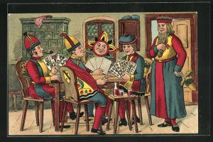 AK Figuren aus Kartenspiel kloppen Skat