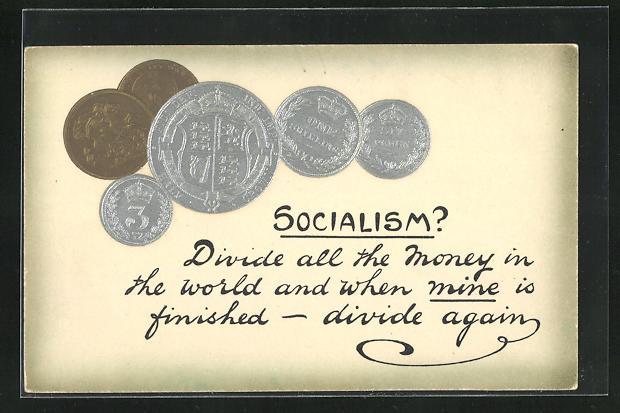 Präge-AK Socialism? Divide all the money in the world..., Sozialismuskritik, Münzen