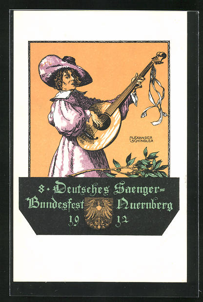 Künstler-AK Alexander Schindler: Nürnberg, 8. Deutsches Sängerfest 1912