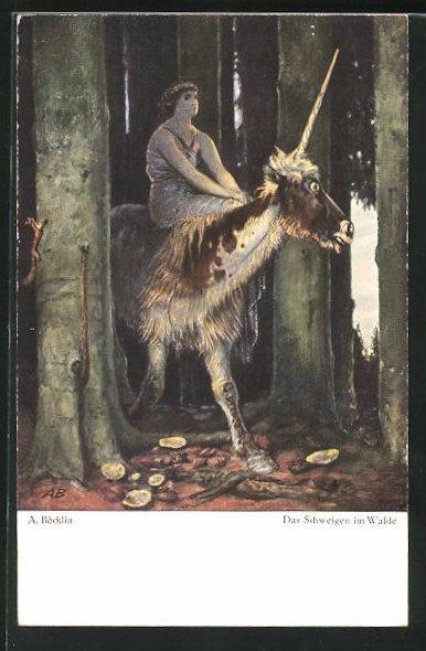 Künstler-AK Arnold Böcklin: Das Schweigen im Walde, Einhorn