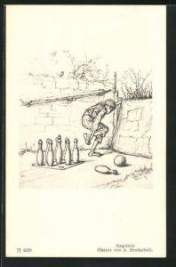 Künstler-AK Albert Hendschel: Kegelbub