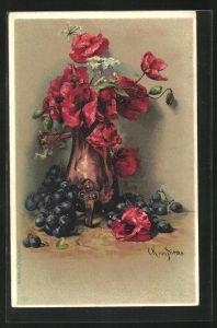 Künstler-AK Clara von Sivers: Stilleben mit Mohn und Weintrauben