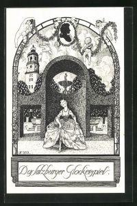 Künstler-AK Ulf Seidl: Das Salzburger Glockenspiel