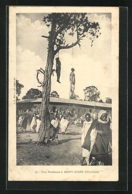 AK Addis-Ababa, Une Pendaison, Gehenkte an einem Baum