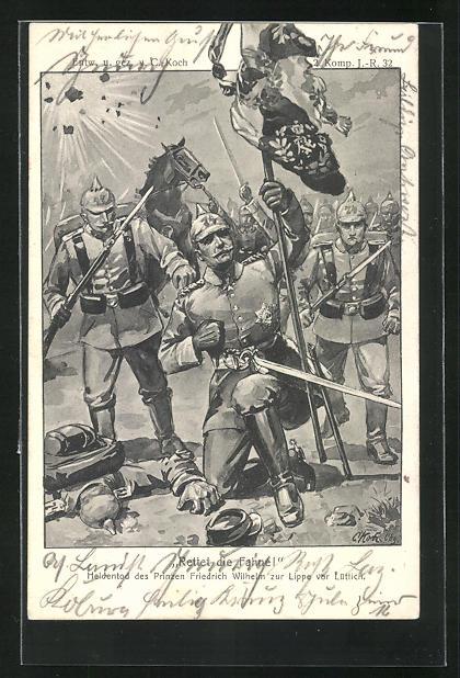 Künstler-AK Heldentod des Prinzen Friedrich Wilhelm zur Lippe vor Lüttich