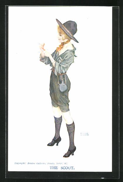 Künstler-AK Raphael Kirchner: The Scout, Junge Frau im sexy Pfadfinder-Kostüm