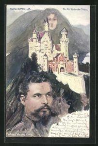 Künstler-AK Fritz Hass, Killinger Nr. 195: Neuschwanstein, König Ludwig II., Berg mit Gesicht / Berggesichter