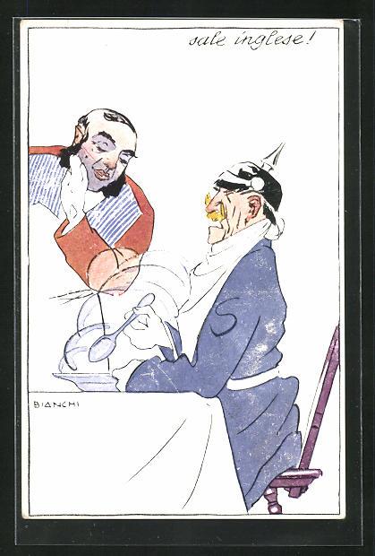 Künstler-AK Bianchi: Sale inglese, Kaiser Wilhelm II. löffelt eine versalzene Suppe aus