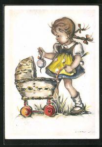 Künstler-AK Hilla Peyk: Kleine Puppenmutti mit Kinderwagen
