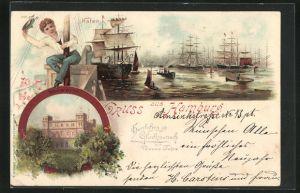 Lithographie Hamburg, Schiffe im Hafen, Seewarte