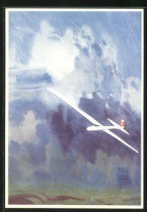 Künstler-AK Fondation Suisse Pro Aero, Segelflugzeug vor Gewitterwolken