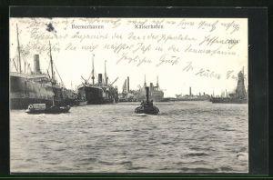 AK Bremerhaven, Dampfer im Hafen