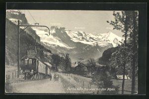 AK Bern-Lötschberg-Simplon-Bahn beim Blausee