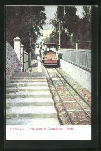AK Genova, Funicolare al Castellaccio - Righi, Bergbahn