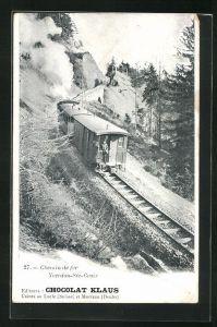 AK Chemin de fer Yverdon-Ste-Croix, Reklame für Chocolat Klaus, Bergbahn auf der Strecke