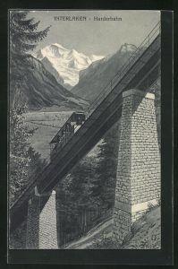 AK Interlaken, Harder-Bergbahn auf der Strecke