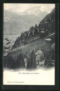 AK Mürrenbahn und Blick zur Jungfrau