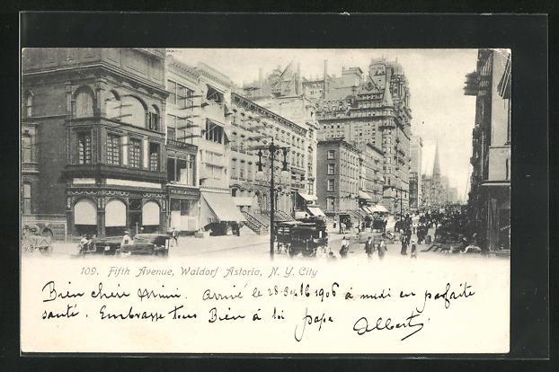 AK New York, NY, Fifth Avenue & Hotel Waldorf Astoria
