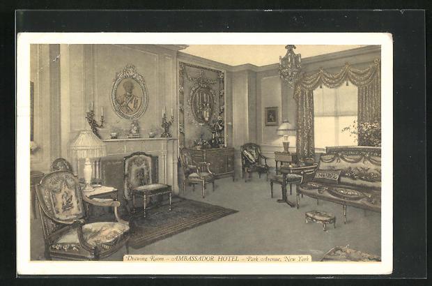 AK New York, NY, Ambassador Hotel, Drawing Room