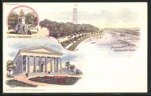 AK Philadelphia, PA, Lincoln Monument, Girard College, Schuylkill River
