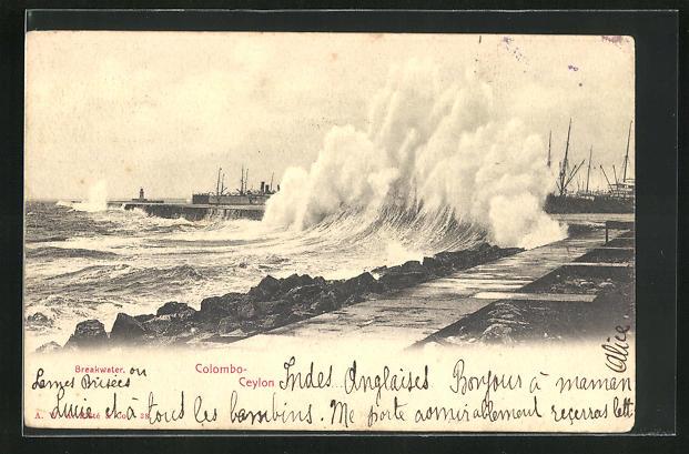 AK Colombo, Breakwater, Wellen prasseln an den Kai