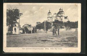 AK Wilna, Soldaten vor der Peter Paul Kirche