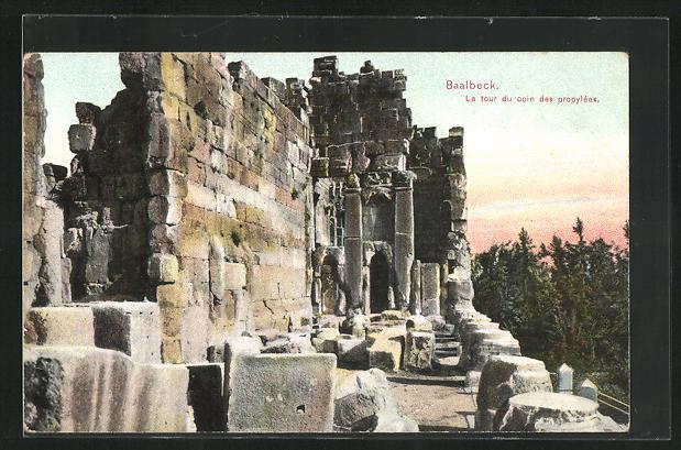 AK Baalbek / Baalbeck, La tour du coin des propylées