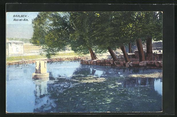 AK Baalbek, Ras-el-Ain, Bäume am Teichufer